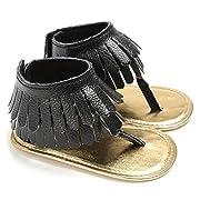 ICOOLTECH Infant Baby Girls Summer Tassel Sandals Prewalker Princess Soft Sole Shoes Sneakers (0-6 M, Black)