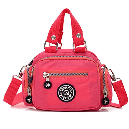 Tiny Chou Mini Color Sólido Resistente al agua nylon bolso Cruz Cuerpo Bolsa De Hombro Para Mujeres y Niñas Rosa - rosa