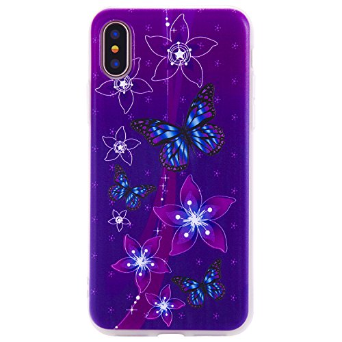 Jewby iPhone X Case, iPhone 10 Cover, 3D Cute Funny Case for iPhone X with a Free Screen Protector (Purple Shield Protector Case)