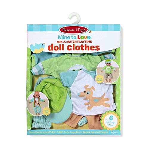"Melissa & Doug Mine to Love Mix & Match Playtime Doll Clothes for 12""-18"" Unisex Dolls (6 Pieces, Great Gift for Girls and Boys - Best for 3, 4, 5 Year Olds and Up), Multicolor"