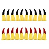 Fireboomoon 20pcs Cosplay Zombie Witch Gloves False Nail Fake Finger Claws for Halloween Costume (Black and Red)