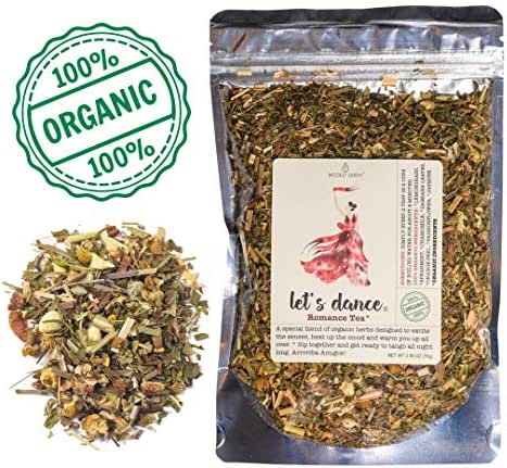 Modest Earth Let's Dance Tea | 100% ORGANIC Natural Aphrodisiac Herbal Remedy | DAMIANA Couple's Love Drink | ROMANTIC Date Night, Anniversary, Birthday Gift for Him/Her | 48+ SERVINGS (2.46 OZ)