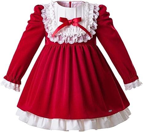 Amazon.com: Vestidos de Navidad para Niñas Encaje Rojo Niña ...