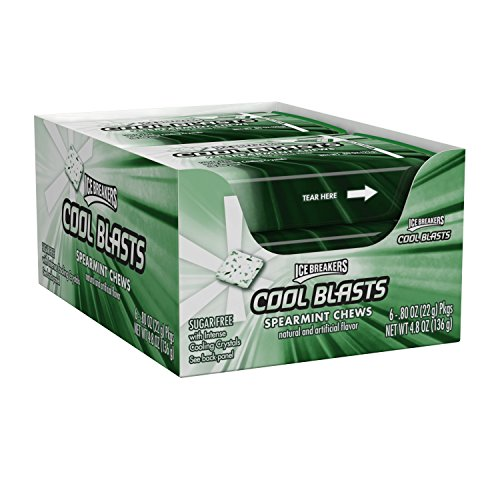 ICE BREAKERS Cool Blasts Sugar Free Chews (Mints), Spearmint, 0.8 Ounce (Pack of 6)