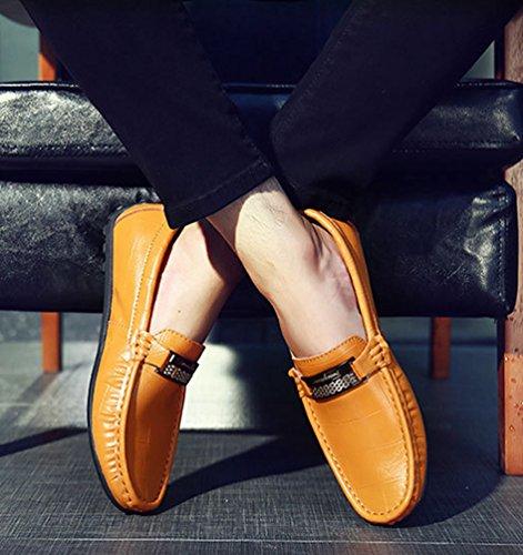 Moda Mocasines de Negocio Dooxi Planos Zapatos Loafer Hombre Zapatos Marrón Casual Barco THzHtXwxq