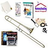 Homeschool Music - Learn to Play the Trombone Pack (Classic Rock Music Book Bundle) - Includes Student Trombone w/Case, DVD, Books & All Inclusive Learning Essentials