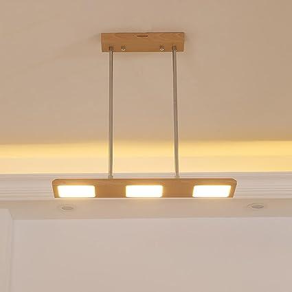 XY-QXZB Lámparas colgantes hechas a mano de madera Hight Ajustable Minimalismo Lámpara de restaurante