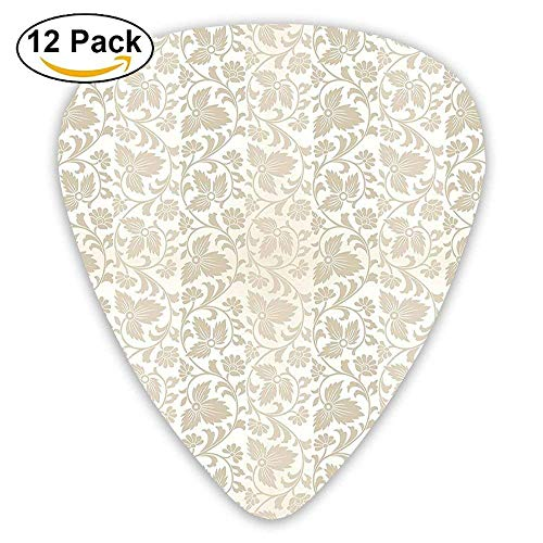 Mastexoru Guitar pick Traditional Victorian Stylized Retro Swirl Flowers Classic Blooms Rococo Pattern Guitar Picks ()