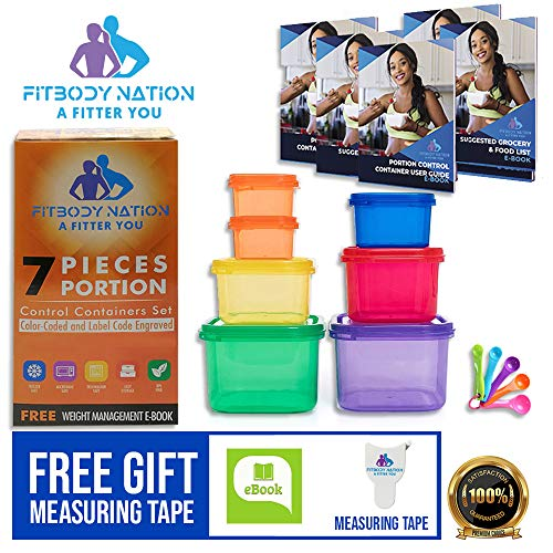 7 Pcs 21 Day Portion Control Containers (Color-Coded, Label-Engraved) for Meal Prep, Food Storage with Measuring Spoons, Smart Body Measuring Tape, Ebook Weight-Loss Diet Plan and Recipes