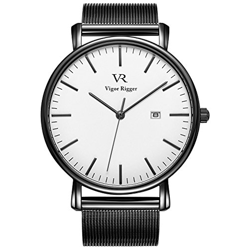 Vigor Rigger Mens Analog Quartz Watches Minimalist Ultra Thin Black Watches for Men with Date Disply and Milanese Mesh & Leather Band (M-White)
