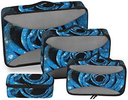 トラベル ポーチ 旅行用 収納ケース 4点セット トラベルポーチセット アレンジケース スーツケース整理 ソープフラワー 青バラ 収納ポーチ 大容量 軽量 衣類 トイレタリーバッグ インナーバッグ