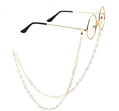 Women's Eyeglass Chains Gold Plated heart chain Sunglasses Eyewear Strap  Holder Reading Glasses Retainer (gold) at Amazon Women's Clothing store