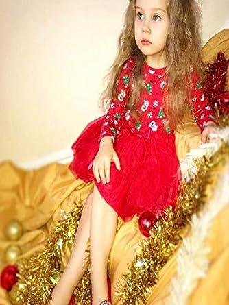 INNEROSE ❤ Abito Natalizio per Neonati Abbigliamento Neonato Vestiti Natale Bambino Beb/è Baby Girl Manica Lunga Fumetto Pupazzo di Neve Stampa Vestito Natale Vestiti
