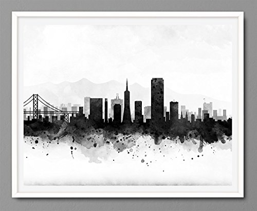 San Francisco Cityscape – Skyline Watercolor Art Print Poster – Black and White