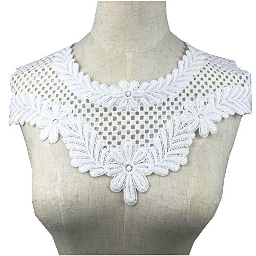Black White Embroidered Lace Neckline Collar Applique Embroidery Patches