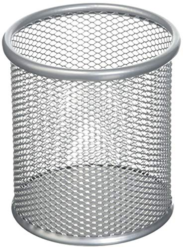 uxcell Silver Gray Metal Mesh Cylinder Shaped Pen Pencil Holder Container