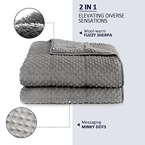 Weighted Blanket 15 Pounds for Adult,Kivik Minky Dot Weighted Blanket Twin Size,Plush Fuzzy Sherpa Heavy Blanket for Couch Sofa Warm Throw Blanket Winter Gifts,Dual Side Grey 48x72 Inches