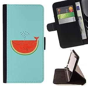 For Samsung Galaxy S5 Mini (Not S5), SM-G800 Case , Tail Sandía Ballena Arte Dibujo- la tarjeta de Crédito Slots PU Funda de cuero Monedero caso cubierta de piel