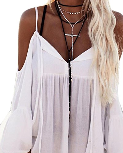 Mandystore Women Off Shoulder T-Shirt Long Sleeve Loose Blouse Tops for Women