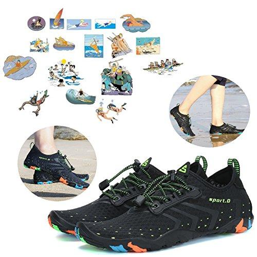 Barefoot para Playa Vacaciones Aqua Shoes rápido Ladies Water Mens de piscina Negro secado Paseo rHawrqg8