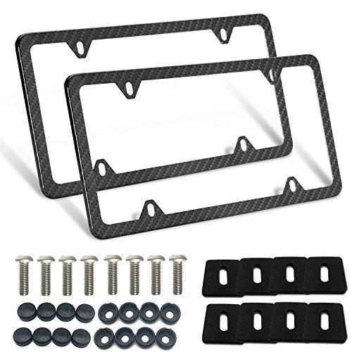 License Plate Frames, Carbon Fiber Metal License Plate Frames Slim Standard Size With Screw Covers (4 holes-2Pcs)