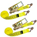 """Vulcan Classic Yellow 3"""" Ratchet Straps With Wire J-Hooks - 5,000 lbs. Safe Working Load (3'' x 27' - Pack of 2)"""