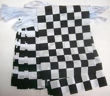 bd7e09ae8949 AZ FLAG Guirlande 20 Drapeaux à Damier Noir et Blanc 21 x 15 cm ...