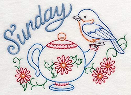 Embroidered Flour Sack Towels Days of the Week Vintage Tea Time Bird Designs Set of 7