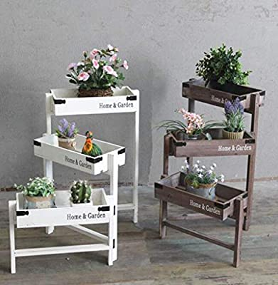 Estante Flower Holder Rack for macetas Vintage American Style Village Escalera Almacenamiento Decoración Ventana Balcón Muebles Madera maciza, Estante de exhibición de bonsai (43.7 * 14.4 * 22.4 pulga: Amazon.es: Hogar
