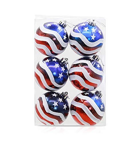 "Astra Gourmet 3.15"" Patriotic Ball Ornaments Set of 6 Large Christmas Tree Balls American Flag Decorations for Independence Day Christmas Party Decoration"
