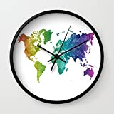 Society6 World Map In Watercolor Rainbow Wall Clock Black Frame, Black Hands