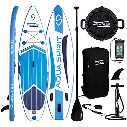 AQUA SPIRIT Premium Inflatable Stand Up Paddle Board for Adults & Youth | Beginner & Intermediate iSUP Hybrid Touring & Racing Model Plus Adjustable Aluminum Paddle (10' 6