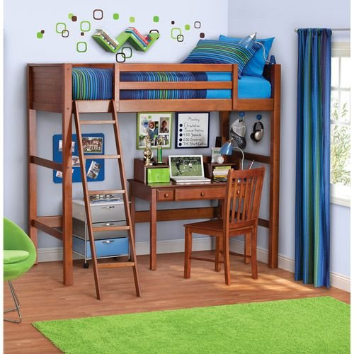 Twin Wood Loft Style Bunk Bed Walnut Color. Bedroom Furniture for Kids and Teens. The Loft Bed Includes a Solid Panel Headboard and Footboard, and Ladder. Pine Slats Provide Support for the Mattress. Room for Desk Underneath (Not Included)