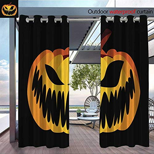 QianHe Exterior/Outside Curtains Isolated-Vector-Yellow-Orange-Festive-Scary-Halloween-Pumpkin.jpg for Patio Light Block Heat Out Water Proof Drape W96 x L108(245cm x 274cm)
