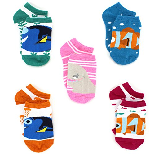 Finding Dory Nemo Girls 5 pack Socks (4-6 Toddler (Shoe: 7-10), Dory Friends Bold)
