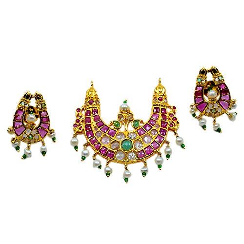 """silvesto Inde """"émeraude & Ruby (créé)"""" Pearl Parure pendentif plaqué or Boucles d'oreilles pour filles et femmes pg-24318"""