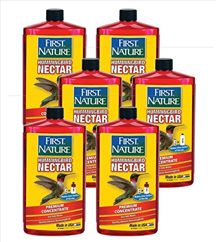 First Nature FN3054 32 oz Red Hummingbird Nectar Pack of 6, Makes 6 Gallons
