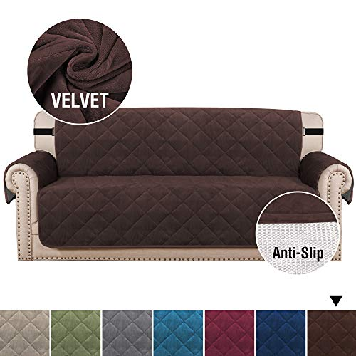 """H.VERSAILTEX Ultra Soft Velvet Sofa Covers for Living Room Slip Resistant Quilted Furniture Protector 2"""" Straps and Pockets Couch Covers for Dogs Sofa Slipcover Protector (Sofa 70"""", Brown)"""