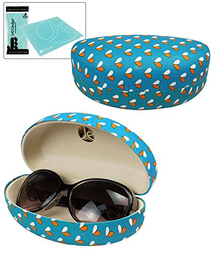 JAVOedge Blue Small Heart Pattern Hard Clamshell Sunglass / Eyeglass Case