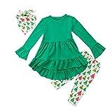 Christmas Toddler Girl Clothes Ruffles Irregular Mini Dress Tops+Long Pant Scarf 3PCS Clothing Set (Tag: 90/2-3 Years, Green)