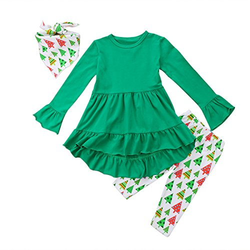 Christmas Toddler Girl Clothes Ruffles Irregular Mini Dress Tops+Long Pant Scarf 3PCS Clothing Set (tag: 130/6-7 Years, Green) (Unique Christening Gowns)
