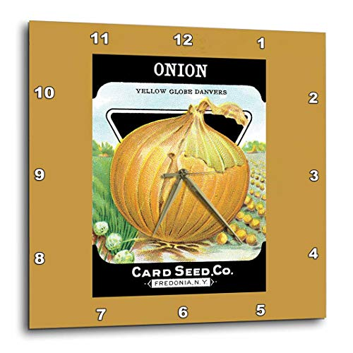 3dRose Onion Yellow Globe Danvers Vegetable Seed Packet Reproduction-Wall Clock, 10-inch (DPP_170463_1) ()