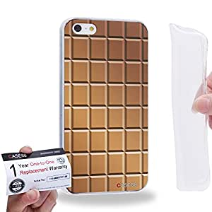 Case88 [Apple iPhone 5 / 5s] Gel TPU Carcasa/Funda & Tarjeta de garantía - Art Fashion Chocolate Bricks Bar Pattern 1319