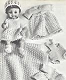 Vintage Knitting PATTERN to make - 13-18-inch Doll Clothes Layette Dress Gowns Suit. NOT a finished item. This is a pattern and/or instructions to make the item only.