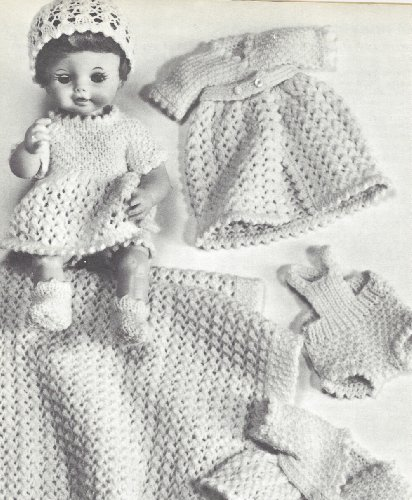 Vintage Knitting PATTERN to make - 13-18-inch Doll Clothes Layette Dress Gowns Suit. NOT a finished item. This is a pattern and/or instructions to make the item only. ()