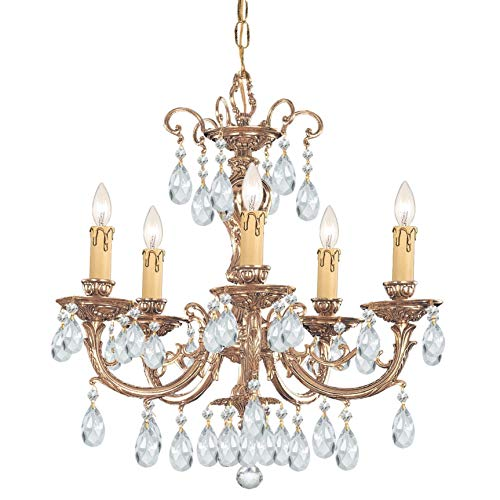 Crystorama Etta Collection 5-Light Olde Brass/Swarovski Strass Crystal - Crystal Brass Olde Swarovski Strass
