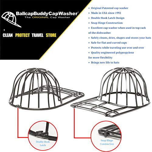 BallcapBuddy Cap Washer Hat Washer for Baseball Caps - The Original Patented Baseball Cap Cleaner Rack for Dishwasher or Washing Machine Frame for Youth and Adult Sized Caps - Made in USA- Black