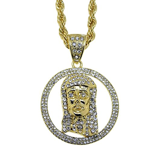 [Jesus Piece Iced-Out Head Pendant Gold Plated 30 Inch Long Rope Chain Hip Hop Round Charm Necklace] (Jesus Round Charm)