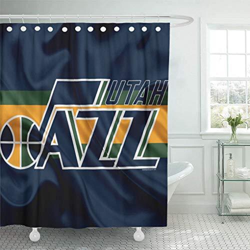 - Ladble Rugby Decor Shower Curtain Set with Hooks Utah City Jazz Emblem New National Basketball Flag Salt Lake League Northwestern 72 X 78 Inches Polyester Waterproof Bathroom