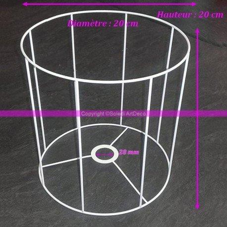 Armature Ronde blanche pour Abat-jour, Hauteur et Diam. 20 cm, Diam. Douille 28mm Lealoo®